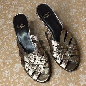 Stuart Weitzman Slip-on Gold Leather Sandals